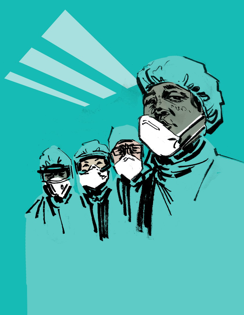 An illustration of doctors wearing PPE in a hospital